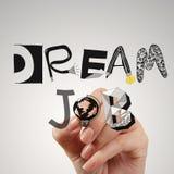 Dra DRÖM- JOBB för designord som begrepp Arkivbilder