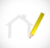 Dra en husillustrationdesign Arkivfoton