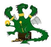 Dra en tecknad film av en grön drake illustration royaltyfri illustrationer