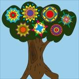 Dra ett träd på en blå bakgrund royaltyfri fotografi