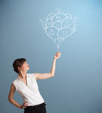 Dra för ballonger för lyckligt kvinnainnehav le Royaltyfri Bild