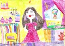 Dra för barn av en lycklig familj inom hus Hemmafru som gör hushållsysslor vektor illustrationer