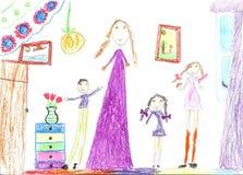 Dra för barn av en lycklig familj inom hus Hemmafru som gör hushållsysslor stock illustrationer
