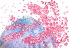 Körsbärsröd tree och Fujiyama Royaltyfri Foto