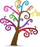 Färgrikt virvla runt treen Royaltyfri Bild