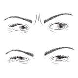 Dra fastställda kvinnaögon stock illustrationer