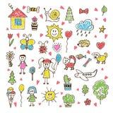 Dra för klotterbarn Hand dragen uppsättning av teckningar i barnvagel Royaltyfri Fotografi