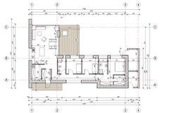 Dra - golvplan av det enkla familjhuset Arkivbilder