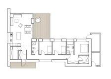 Dra - golvplan av det enkla familjhuset Royaltyfri Fotografi