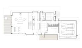 Dra - golvplan av det enkla familjhuset med garaget Arkivbild