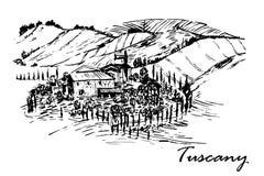 Dra härligt landskap av Tuscany fält med den härliga mangårdsbyggnaden räcka den utdragna illustrationen Arkivbilder