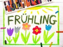 Dra: Hling vår för tysk ordFrà ¼ och härliga blommor vektor illustrationer