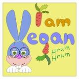 Dra kanin med strikt vegetarian för text I vektor illustrationer