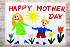 dra - kort för dag för moder` s stock illustrationer