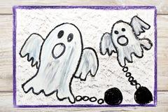 Dra: Läskig spöke två med kedjor arkivbild
