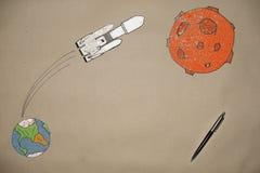 Dra lansera en raketfalk in i utrymme på bakgrunden av jorden Royaltyfri Bild
