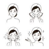 Dra linjen ansikts- rentvå för moment av kvinnor vektor illustrationer
