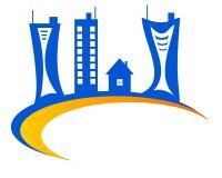 Dra logohuset på jordklotet royaltyfri illustrationer
