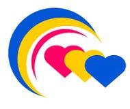 Dra logojordklotet av hjärtor stock illustrationer