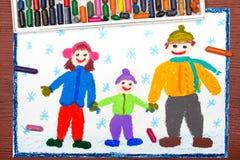 Dra: lycklig familj i vinter Royaltyfri Fotografi