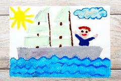 Dra: Lycklig pojke på en yacht royaltyfri illustrationer