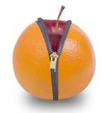 Dra ned blixtlåset på orange frukt royaltyfri bild