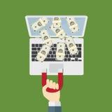 Dra ner pengar från internet med magneten Royaltyfria Bilder