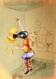 Dra på papper av barnet i gasmask som drar en sol Royaltyfri Foto