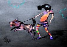 Dra på papper av barnet i gasmask som rymmer en hund Royaltyfria Bilder