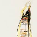 Dra på papper av den traditionella bulgariska klänningen Royaltyfri Bild