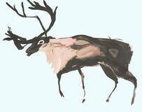 Dra på papper av hjortar på blå bakgrund Arkivbilder