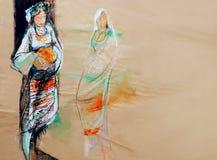 Dra på papper av två traditionella Balkan flickor och rituellt bröd Arkivfoto