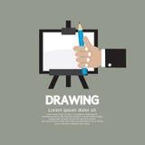 Dra på staffli med blyertspennan vektor illustrationer