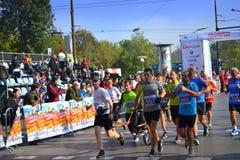 Dra rullstolmaratonlöpare Sofia Bulgaria Royaltyfri Foto