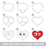 Dra som är orubbligt Hur man drar en hjärta Arkivbild