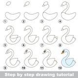 Dra som är orubbligt Hur man drar en vit svan royaltyfri illustrationer