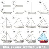Dra som är orubbligt Lek för yacht vektor illustrationer