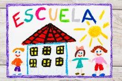 Dra: Spanjorord SKOLA, skolabyggnad och lyckliga barn första skola för dag vektor illustrationer