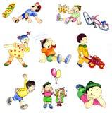 Dra spela barn i olika modiga l?gen royaltyfri illustrationer