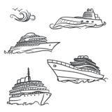 Dra symboler för yacht royaltyfri illustrationer