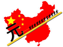 dra teckenarbetare yuan Arkivbild