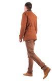 Dra tillbaka beskådar av gående stilig man i jeans och klår upp. Royaltyfri Bild