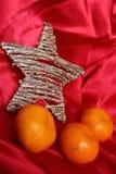 Dra tillbaka i USSR - mandariner, scharlakansröd torkduk och stjärna som ett symbol av de sovjetiska nya year'sferierna Arkivfoto