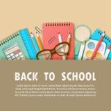 Dra tillbaka till bakgrund för konst för skolapapper med anteckningsboken, blyertspennan, linjal royaltyfri illustrationer