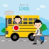 Dra tillbaka till barn för skolbussvägpojken studenten Cartoon Character Vector stock illustrationer