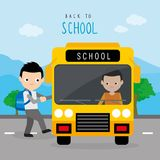 Dra tillbaka till barn för skolbussvägpojken studenten Cartoon Character Vector royaltyfri illustrationer