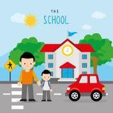 Dra tillbaka till barn för skolbussvägpojken studenten Cartoon Character Vector vektor illustrationer