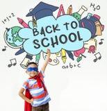 Dra tillbaka till begreppet för den skolutbildningAcademiccs studien royaltyfri bild