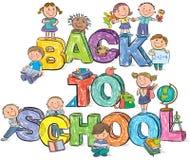 Dra tillbaka till bokstäver och ungar för skola roliga Arkivbild