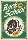 Dra tillbaka till den retro annonseringen för skolaförsäljningen med skolapåsen och blyertspennor royaltyfri illustrationer